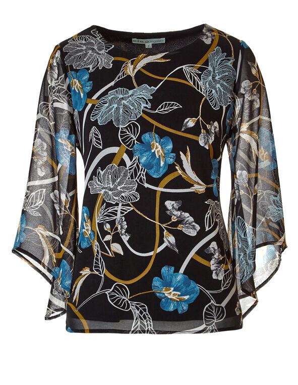 Floral Bell Sleeve Blouse, Black/Saffron/Blue/Ivory, hi-res