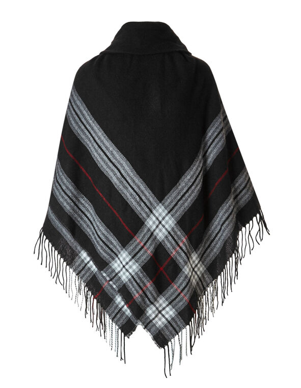 Boarder Plaid Poncho, Black, hi-res