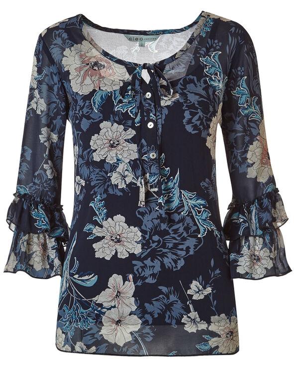 Navy Floral Blouse, Navy, hi-res