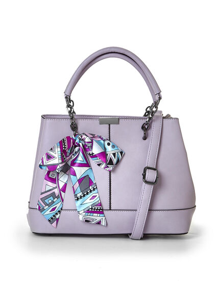 Orchid Satin Bow Satchel, Light Orchid, hi-res