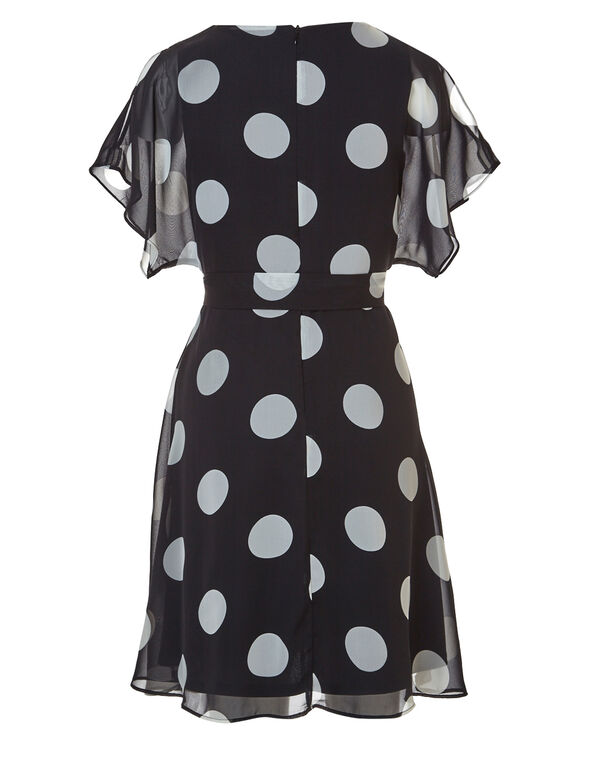 Black Dotted Chiffon Dress, Black, hi-res