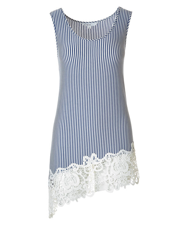 Striped Crochet Hem Asymmetrical Tunic, White/Blue stripe, hi-res