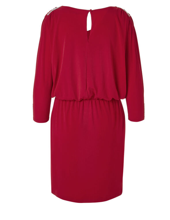 Red Split Blouson Dress, Red, hi-res