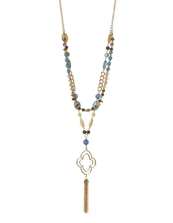 Multi Bead Tassel Necklace, Multi, hi-res