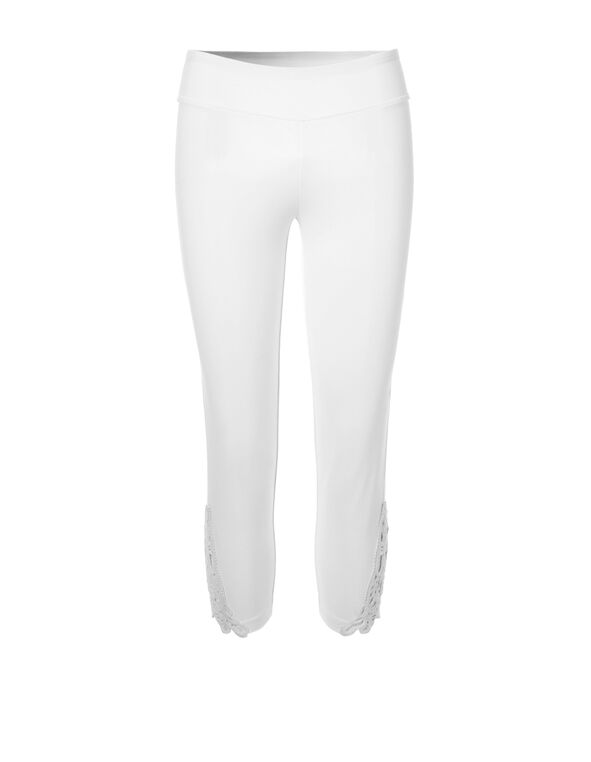 White Crochet Cotton Capri, White, hi-res