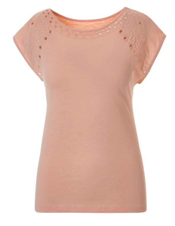 Light Apricot Cotton Tonal Tee, Light Apricot, hi-res