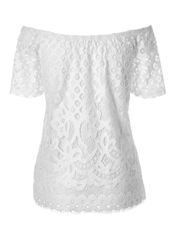 White Crochet On/Off Shoulder Top, White, hi-res