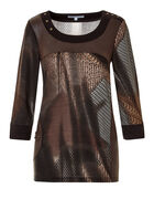 Neutral Mixed Hacchi Top, Dark Brown/Nude/White, hi-res