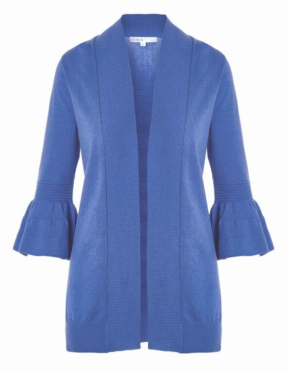 Blue Bell Sleeve Mid Cardigan, Blue, hi-res