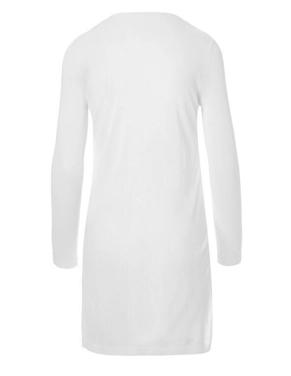 White Chiffon Front Long Cardigan, White, hi-res