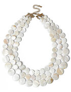 White Shell Row Necklace, White, hi-res