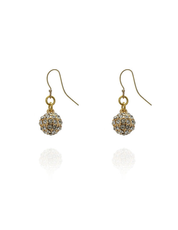 Gold Crystal Ball Earring, Gold, hi-res