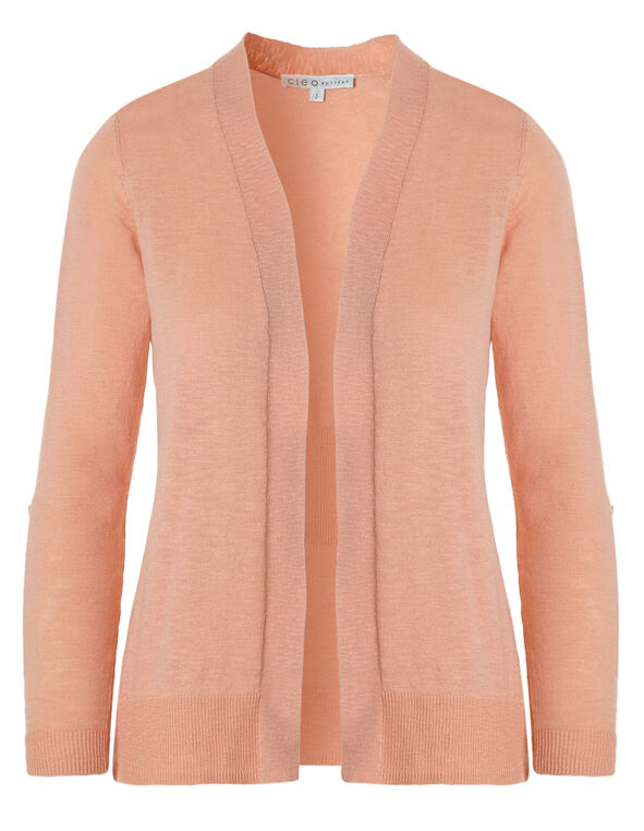 Peach Slub Roll Sleeve Cardigan, Peach, hi-res