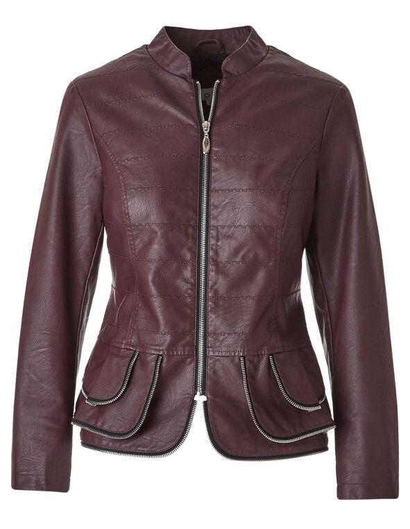 Faux Leather Peplum Jacket, Burgundy, hi-res