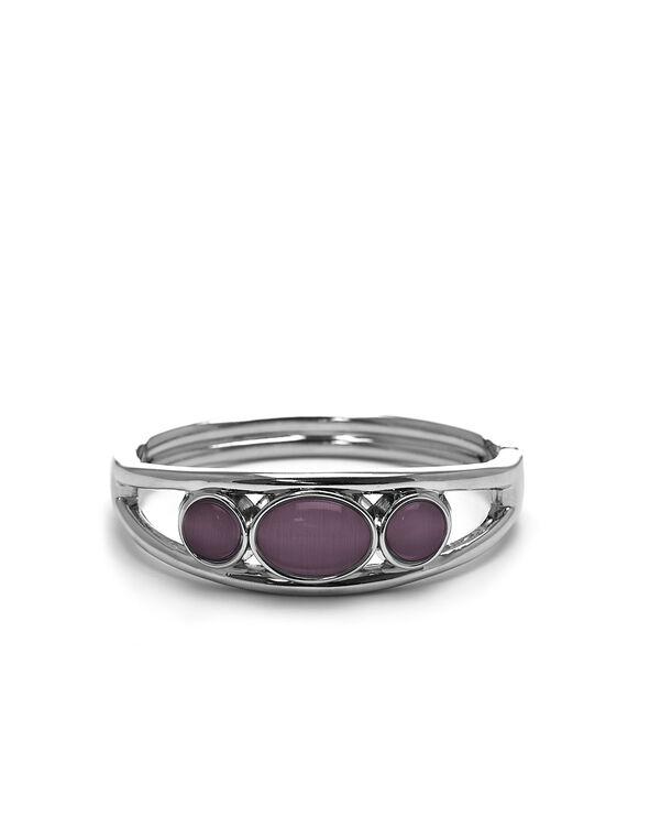 Purple Cat Eye Hinge Bracelet, Purple, hi-res