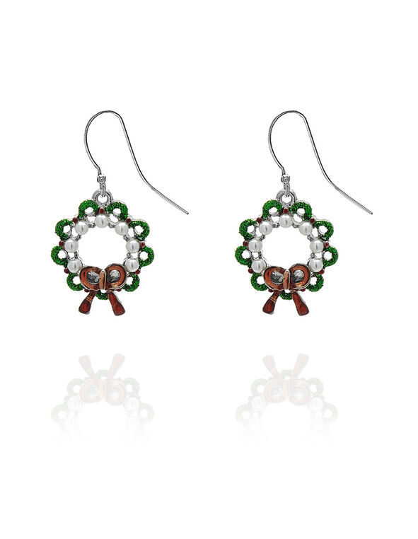 Christmas Wreath Drop Earring, Pearl, hi-res