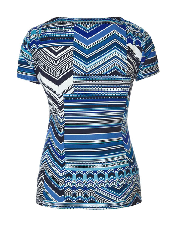 Mix Print Metal Trim Top, Blue/Navy/White/Green, hi-res