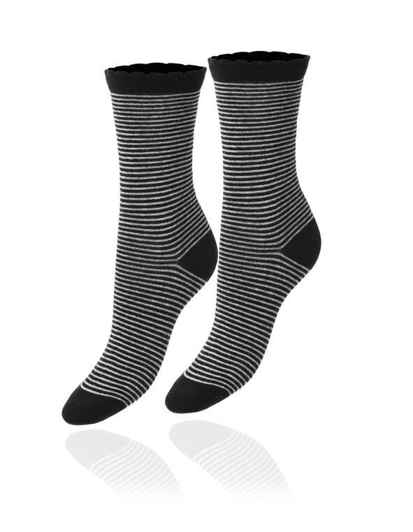 Black Striped Crew Sock, Black/Grey, hi-res