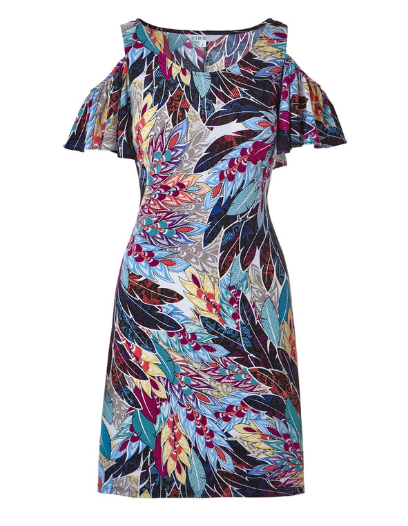 Peacock Printed Dress, Multi, hi-res