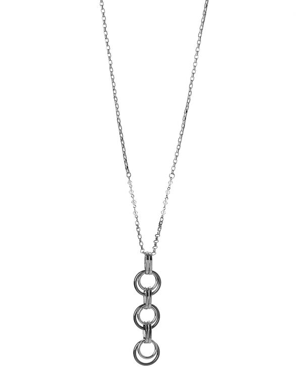Silver 3 Circle Necklace, 2-TONE, hi-res