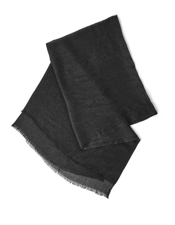Black Shimmer Lurex Wrap, Black, hi-res