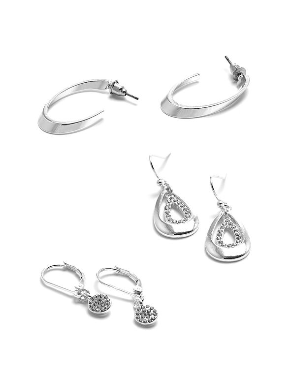 Silver Crystal Trio Earring Set, Silver, hi-res