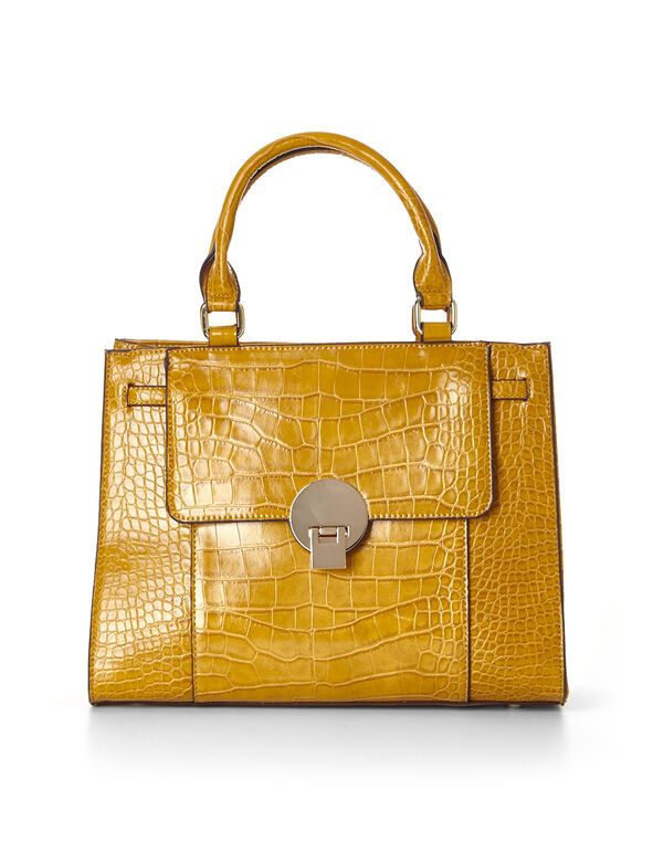Amber Croco Handbag, Amber, hi-res