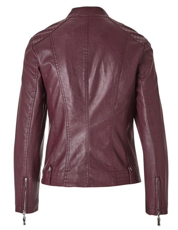 Brick Faux Leather Jacket, Brick, hi-res