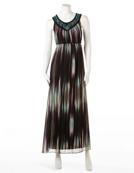 Chiffon Watercolour Maxi Dress, Black/Turq/Coral/Cream, hi-res