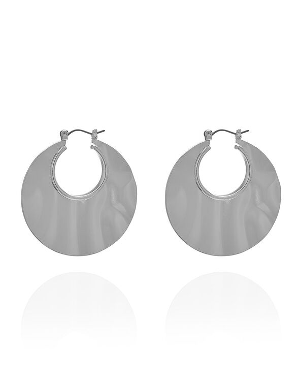 Silver Hammered Hoop Earring, Silver, hi-res