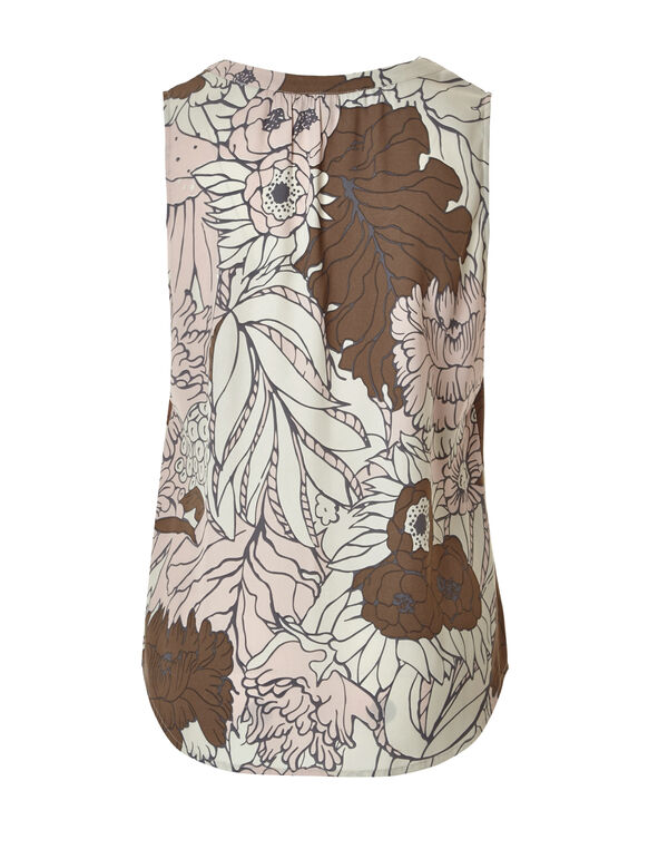 Floral Split Neckline Blouse, Nude/Dusty Pink/Biscuit, hi-res