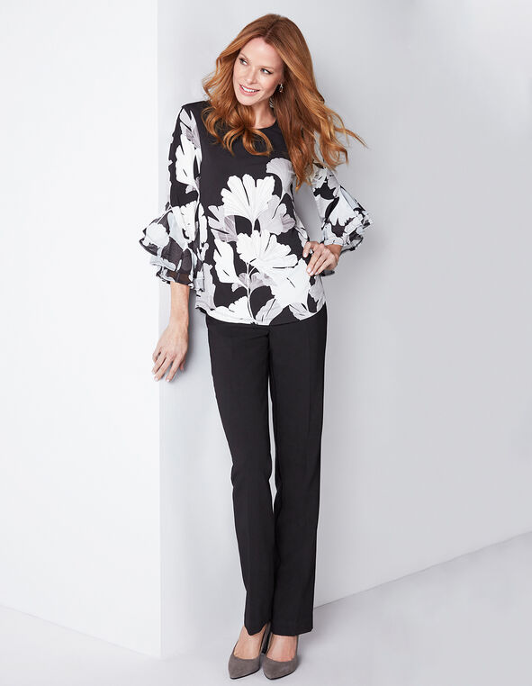 Neutral Floral Bell Sleeve Top, Black Print, hi-res