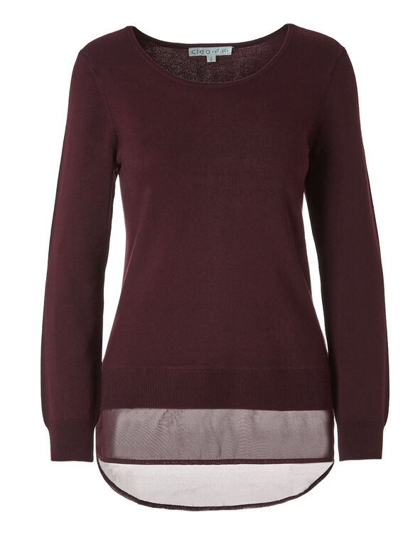 Burgundy Chiffon Hem Sweater, Burgundy, hi-res