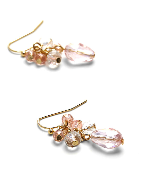 Pink Beaded Cluster Earring, Pink, hi-res