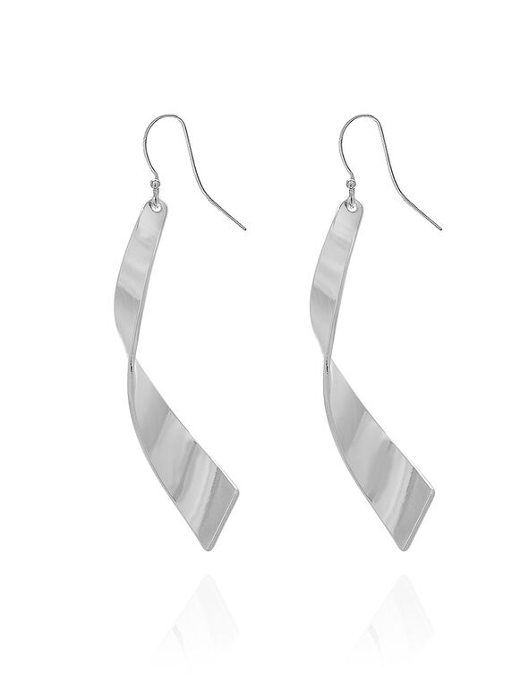 Silver Long Ribbon Earring, Silver, hi-res