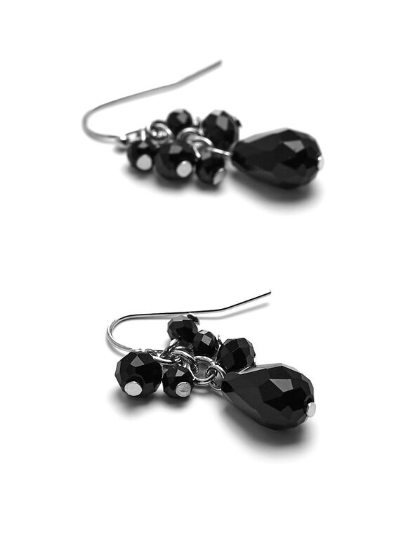 Black Beaded Cluster Earring, Black, hi-res