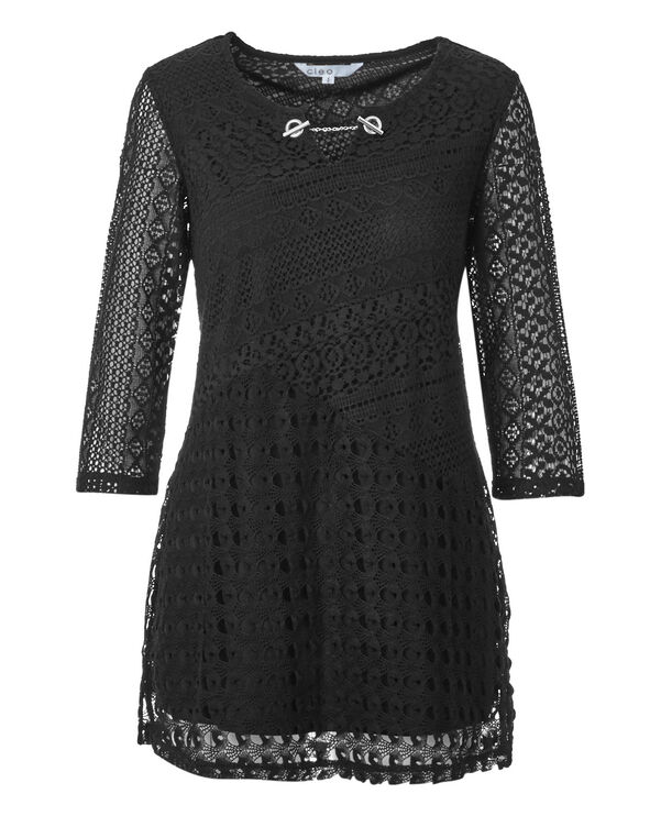 Black Lace Chain Tunic, Black, hi-res