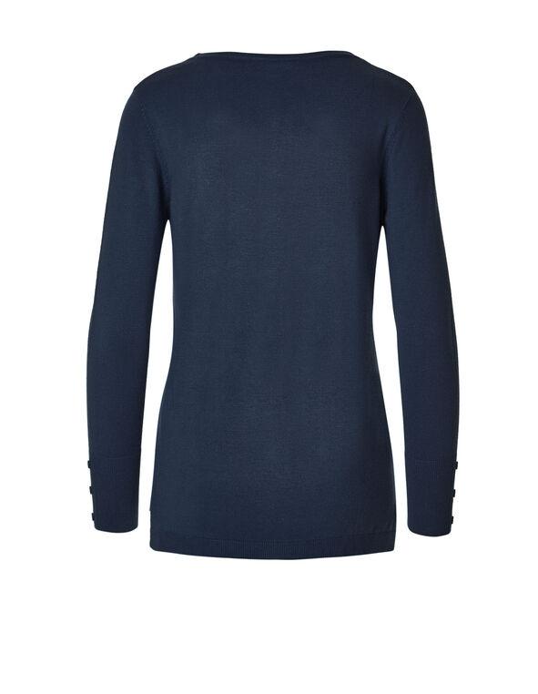 Navy V-Neck Sweater, Navy, hi-res