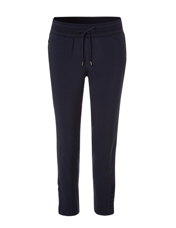 Navy Soft Ruched Ankle Pant, Navy, hi-res