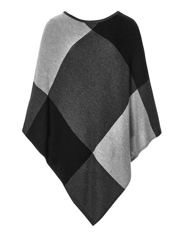 Grey Button Poncho Sweater, Light Grey/Charcoal/Dark Grey, hi-res