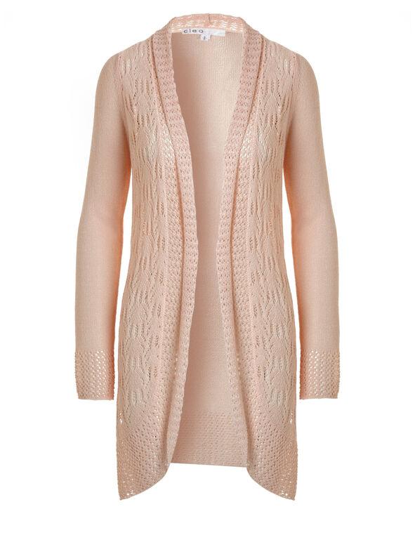 Seashell Open Stitch Long Cardigan, Seashell Pink, hi-res