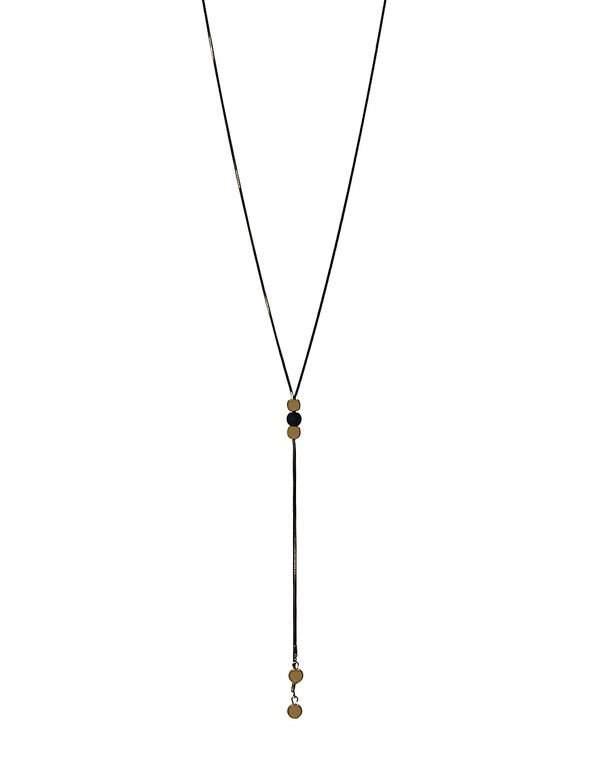 Black & Gold Adjustable Necklace, Black/Gold, hi-res