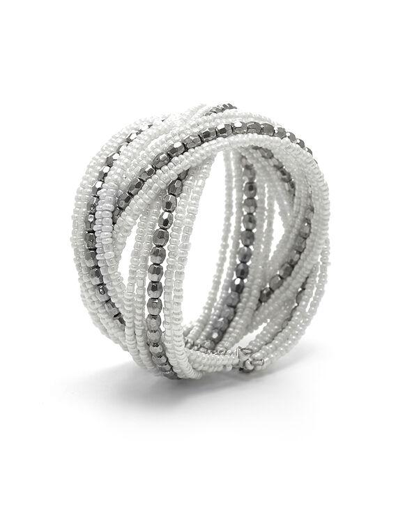 White Seed Bead Bracelet, White, hi-res