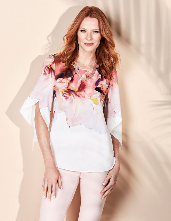 White Printed Tulip Sleeve Blouse, White Pattern, hi-res