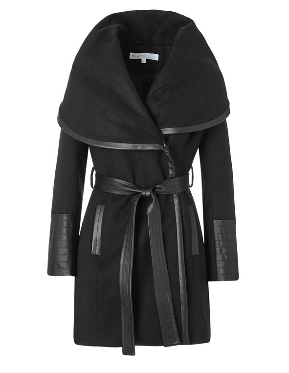 Black Wrap Faux Wool Coat, Black, hi-res