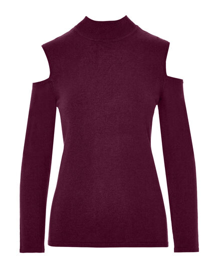 Claret Cold Shoulder Sweater, Claret, hi-res
