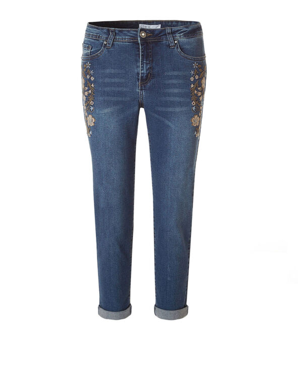 Dark Wash Floral Crop Jean, Dark Wash, hi-res