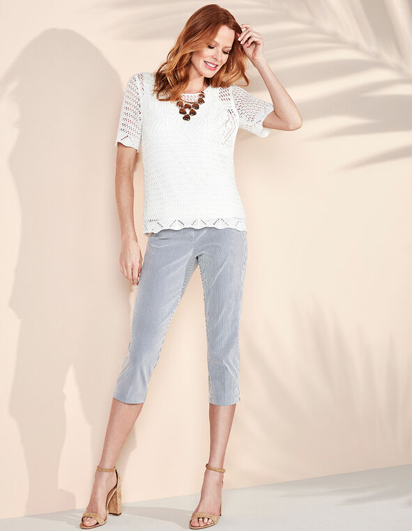 Seersucker Cleo Signature Capri, Chambray, hi-res