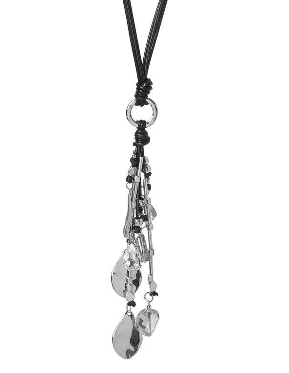 Teardrop Pendant Cord Necklace, Black, hi-res