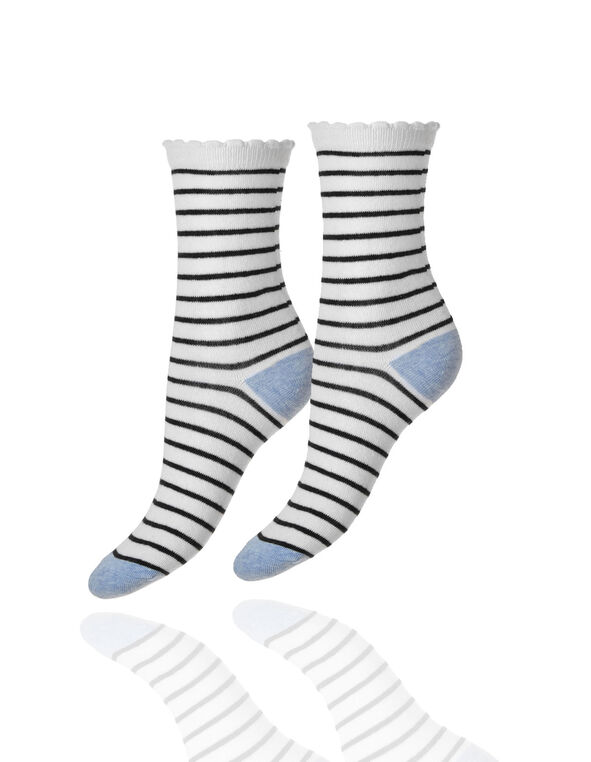 Ivory Striped Crew Sock, Ivory, hi-res